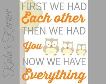 WOODLAND NURERY ART - owl nursery, Nursery wall art decor, Playroom art, Now we have everything, First we had you print