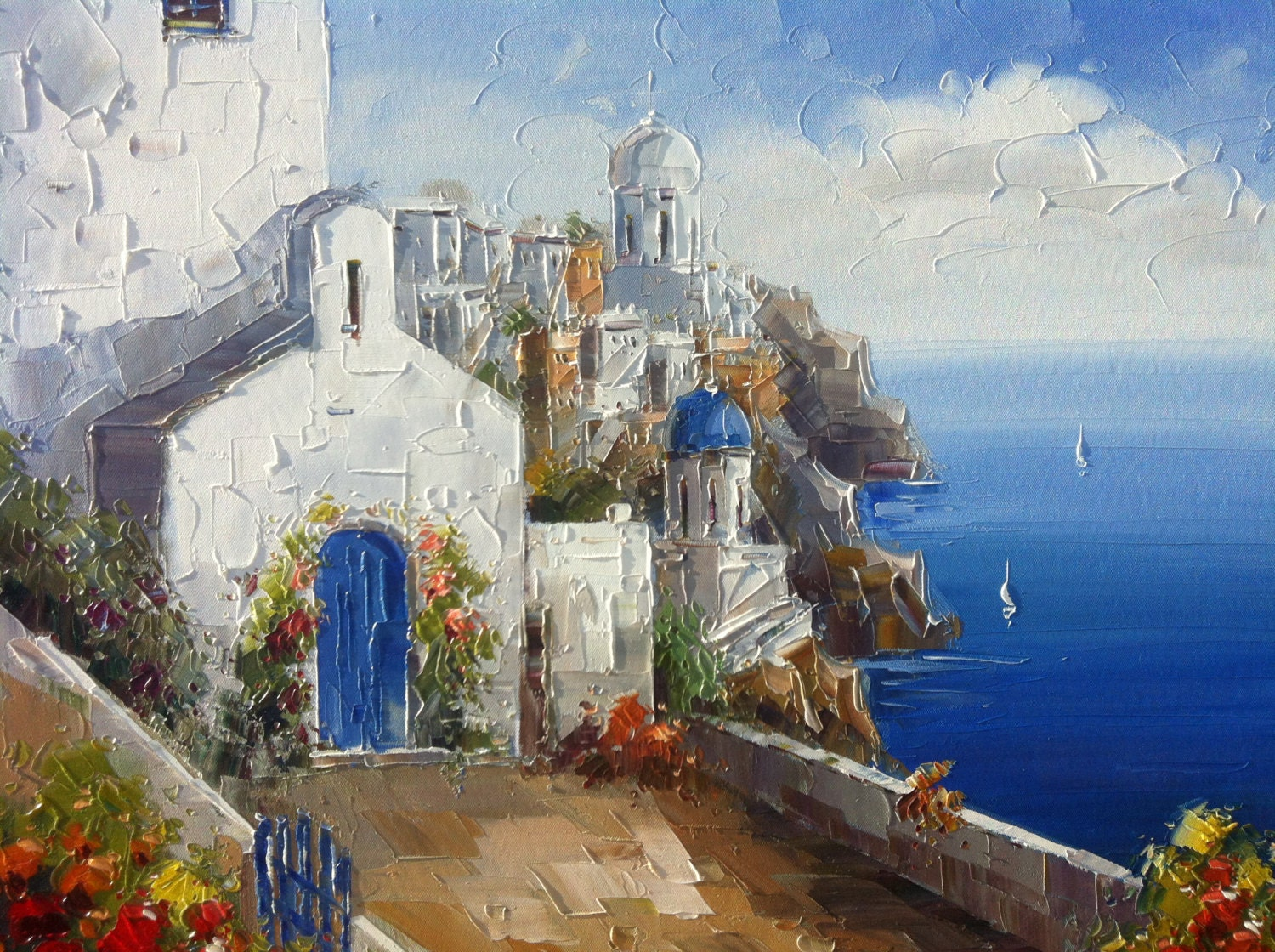 Santorini Oil Painting