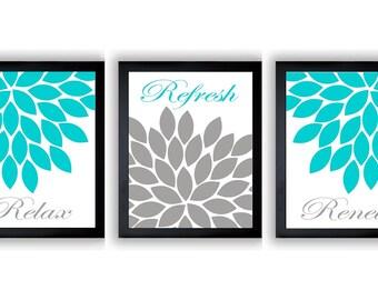 Turquoise Grey Gray Chrysanthemum Flower Print Set of 3 Relax Refresh Renew Art Print Wall Decor Bathroom Bedroom Modern Minimalist