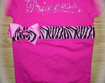 Boutique Princess Bow shirt. Baby Princess Hot Pink Black Zebra Bling tee. Customized 6 month, 12 month, newborn shirt. Photo Prop Shirt.