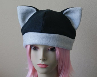 Fleece Cat Hat / BLACK + LIGHT GREY Beanie Style Cap Cute Anime Neko Cosplay Cat Ears Kitty Ears Kawaii Japanese Fashion