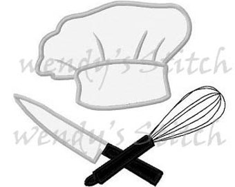 Chef hat utensils applique cooking mahcine embroidery design
