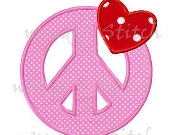 Love peace peace sign applique machine embroidery design