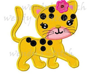 Girl leopard applique machine embroidery design instant download