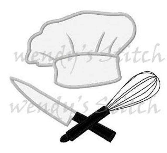 Chef Hat Utensils Applique Cooking Mahcine Embroidery Design From  WendysStitch On Etsy Studio