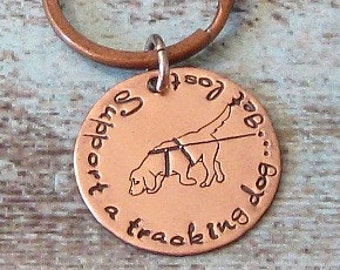 Tracking Dog Hand Stamped Keychain - Jewelry, Exclusive, Unique Dog Gift, CT