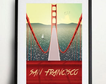 VINTAGE San Francisco Golden gate Bridge Illustration Poster A3 size high quality digital print