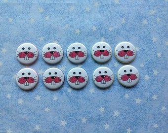 """Easter Bunny Faces, 1"""" Flatback Buttons, 10 Buttons Total"""