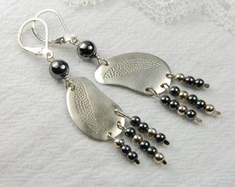 Artisan Earrings Chandelier Earrings Handmade Boho Earrings Long Dangle Earrings Silver Hammered Earrings Boho Jewelry