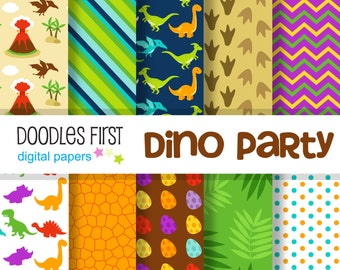 Dino Party Digital Paper Pack Includes 10 for Scrapbooking Paper Crafts