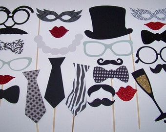 Vintage Inspired Classy Wedding Photo Booth Props 25pc Black & White Photobooth Mustache on a Stick Glitter Photo Props Selfie Photo Props