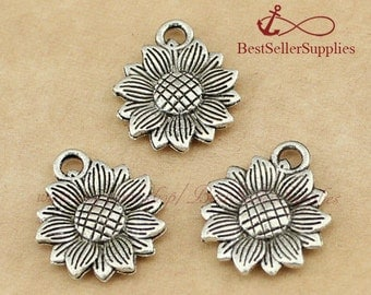 20 PCS, Sunflower, Flower Pendants, Helianthus Annuus Charms, Fittings, Accessories, Jewelry Making Findings, DIY Supplies, 18*15MM