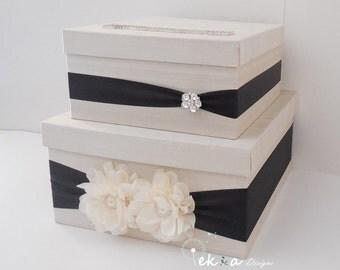Wedding money box / Wedding Card Box / Wedding card holder / Wedding gift card box / 2 Tier (Ivory & Black)