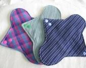 3 x Organic & Fairtrade Organic Cotton Cloth Menstrual Sanitary Pads.