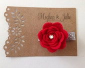 Red Scalloped Felt Rose Hair Clip, Girls holiday hair Clip, Red Felt Hair Clip, Red Hair Clip, Meghan and Julie Red Valentines Hair Clip