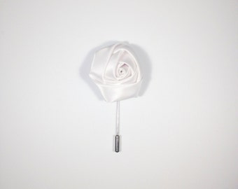 White Satin Men's Lapel Flower, Wonderful Depth Made In The USA Ideal Gift For Dad Brother Husband