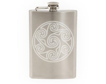Celtic Stone #4 - Wandsworth Shield Style Celt Ornament  - Etched 8 Oz Stainless Steel Flask