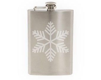 Snowflake Pattern #2 - Winter Art Christmas Decoration  - Etched 8 Oz Stainless Steel Flask