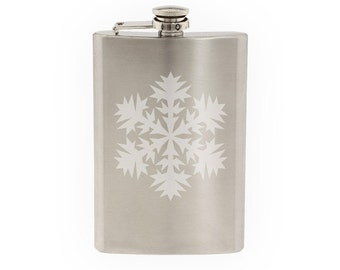 Snowflake Pattern #6 - Winter Art Christmas Decoration  - Etched 8 Oz Stainless Steel Flask
