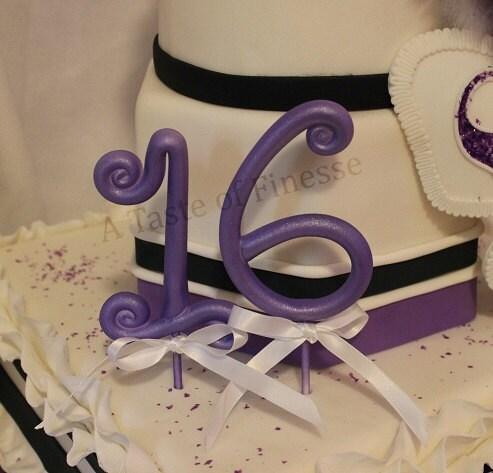 Fondant Cake Decorations Uk : 1 Whimsical Fondant Number Cake Topper Decoration