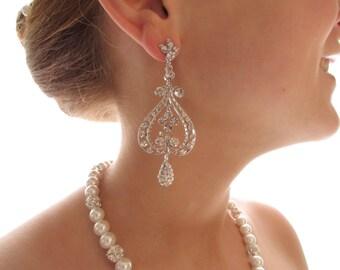 Chandelier Bridal Earrings - Diamond Dangle Earrings - Large Bridal Earrings - Statement Wedding Jewelry - Vintage Bridal Earrings - CZ