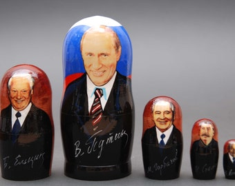 Russian politicians leaders Putin, Eltsyn, Gorbachev, Stalin, Lenin Matryoshka  nesting doll 5 pc Free Shipping plus free gift!