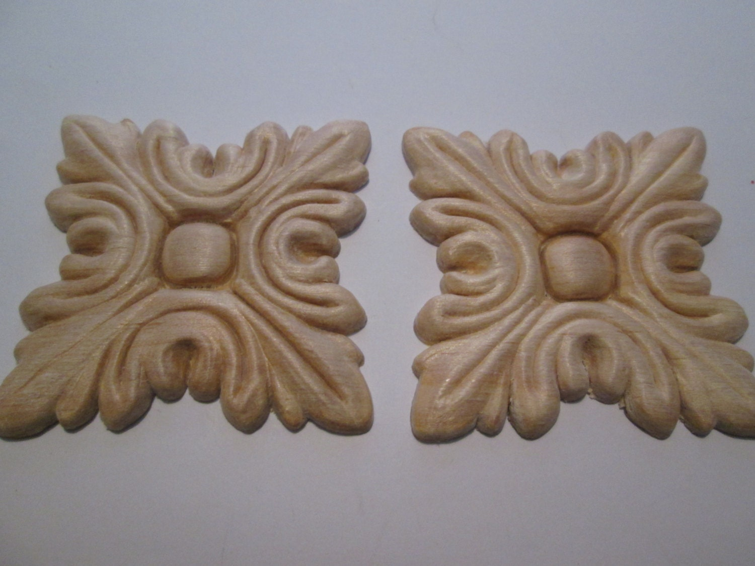 Decorative wooden appliques sanded and sealed for Decorative wood onlays