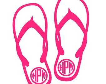 Monogram Flip Flop Vinyl Decal | Summer | Flip Flops