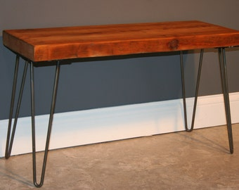 Reclaimed Urban Wood Bench- With Hairpin Legs - Handmade From Salvaged Barn Wood - Fast Shipping