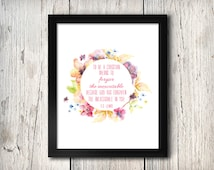 Inspirational Christian Flower Wreath Quote Wall Decor, To Be A Christian Means To Forgive The Inexcusable, C.S Lewis Print - Digital File