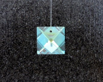 Swarovski Square Crystal Prism, ONE(1) Aurora Borealis Crystal Square, Strass Article 8025 22MM , Genuine Lead Crystal, Suncatcher