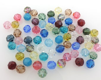SWAROVSKI® Crystal Article #5000 8mm Round Beads, Assorted Colors, FORTY(40) Twenty-Seven(27) Cents Per Bead!