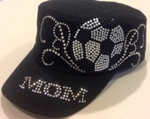 Rhinestone Soccer Mom With Scrolls Military Hat Cap with the option to add your child's number(s)