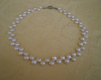Freshwater Pearl Necklace Jewelry, genuine white cultured pearl Jewelry.