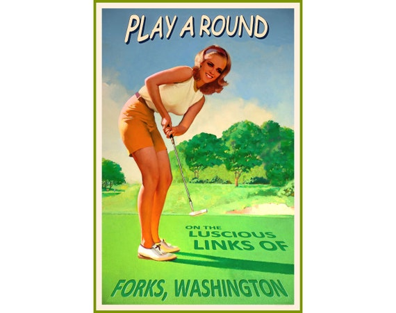 Forks washington kristen stewart golf putt pin up poster 3 etsy thecheapjerseys Images