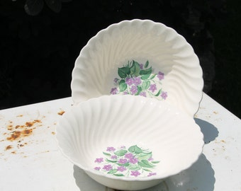 Vintage Royal Violet China Serving Bowls by Royal China USA with Delicate Hand Painted Violet Pattern Dinnerware Set of 2 Serving