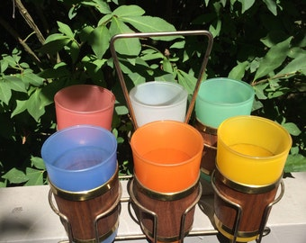 Vintage Glassware Frosted Multi Coler Tumbler Glasses with Bamboo Wrap and Gold Accent. Includes Caddy. Barware. Serving. Entertaining