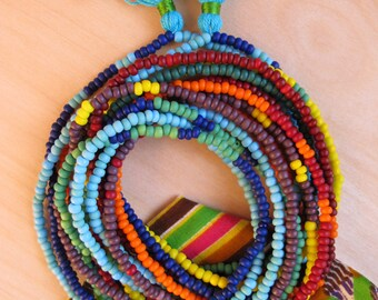 Multicolor Beaded Bracelets Wrap Desert Rainbow Jewelry Long Bead Strand Boho Chic Ethnic Bead Tribal Beadwork Jewelry African Style / Sale!