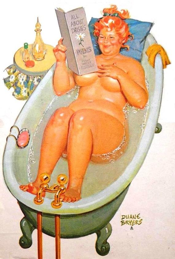 "Wall Art Print- Art Reproduction Vintage Sexy Pin-up Girl Vintage Sexy Plus-size Pin-up Girl Duane Bryers Hilda No.67 Print 8 x 10"""