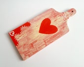 Vintage style shabby chic hand painted wooden kitchen decorative cutting board gift idea for her mother's day gift red heart valentines