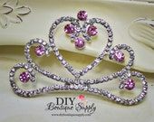 Large PINK  Clear Crystal Princess Crown Rhinestone Flatback Tiara Crown Embellishment Rhinestone Buttons Bow Headband Supplies 55mm 652100