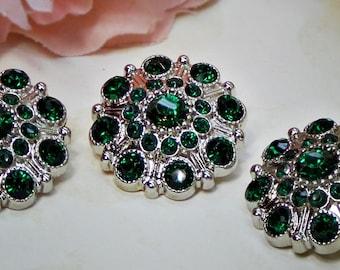 Large Rhinestone Buttons Emerald GREEN- Rhinestone Crystal buttons Embellishments Acrylic Flower centers Headband Supplies 28mm 3 pcs 600040