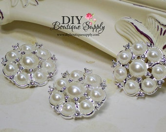 Large Rhinestone Pearl buttons Crystal Embellishment flower centers Headbands invitations crystal bouquet  28mm 639042