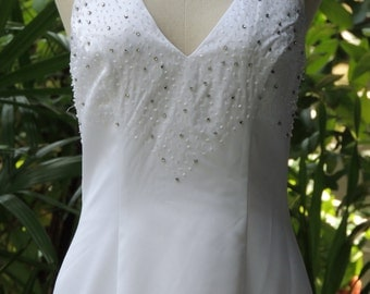 Vintage White Party Dress, Casual Dress, Summer Dress, Medium (F15)