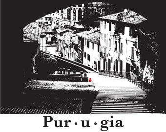 Cat print Perugia Italy medieval old town provincial architecture graphic illustration wall art