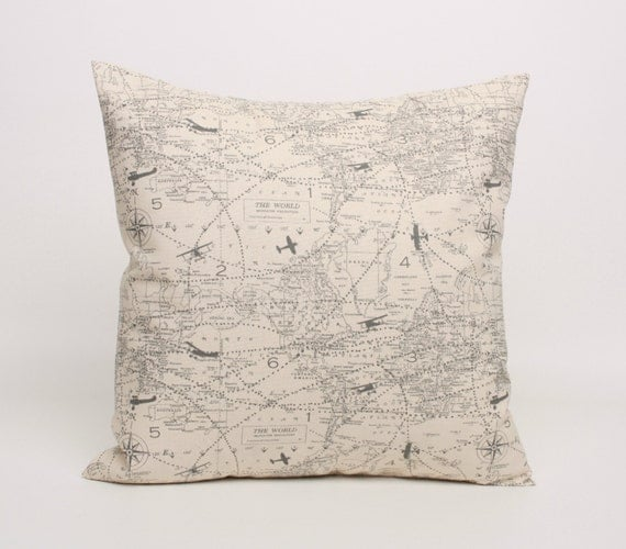 Gray and Cream Throw Pillow Cover Gray by DimensionsHomeDecor