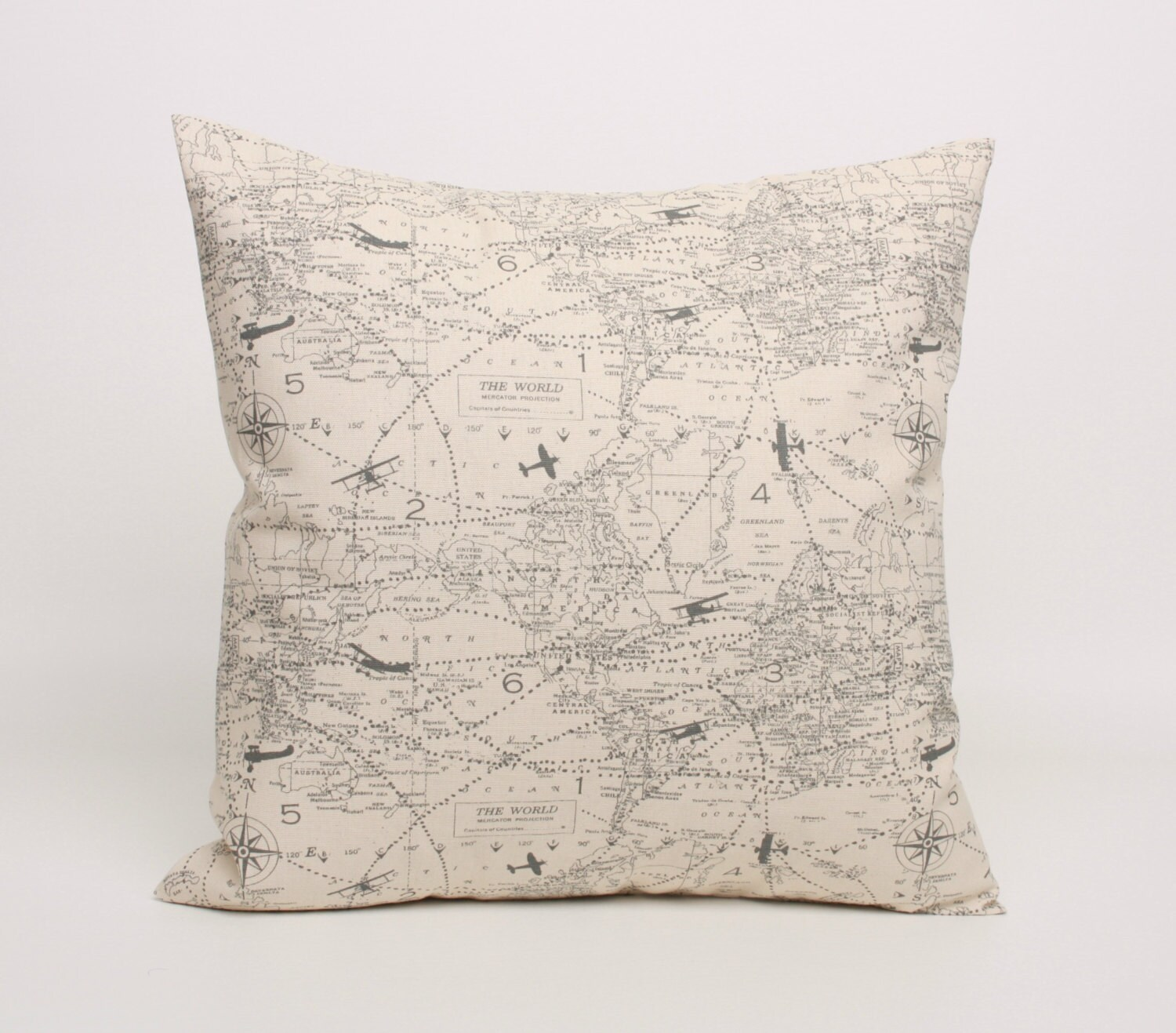 Throw Pillows Cream : Air Plane Map Throw Pillow Cover Gray and Cream designed for