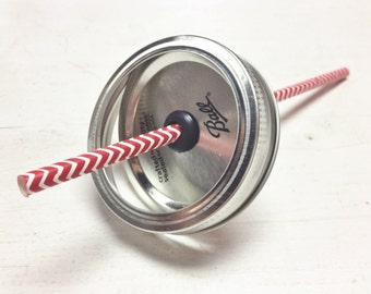 mason jar lid for straws | to-go drink | tumbler lid | regular mouth | wide mouth | colored mason jar lids