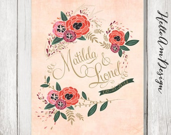Blush pink wedding - Botanical wedding - Personalized wedding poster - wedding book alternative - wedding guestbook alternative