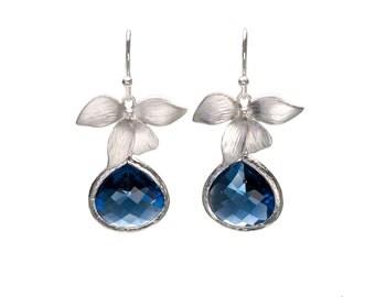 Sapphire Orchid Earrings, Flower Earrings, Wedding Jewelry, Bride Earrings, Bridesmaid Jewelry, Mother's Day